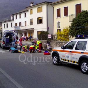 Caduto in centro a Miane: ciclista trasportato in elicottero all'ospedale di Treviso